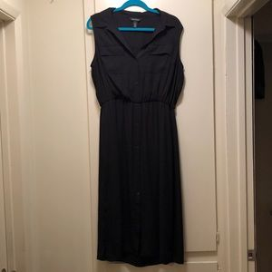 Black collared dress.